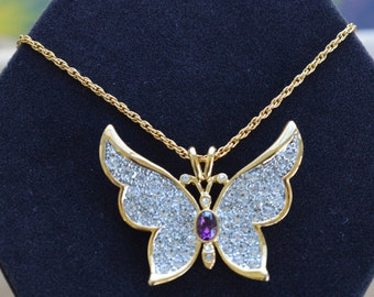 "Beautiful Vintage Pave Rhinestone, Amethyst Butterfly Pendant Necklace, Gold tone, 24"", P.S. Company (H13)"