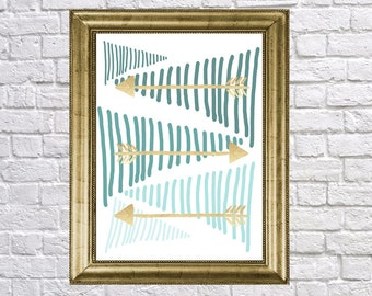 Tribal Arrow Wall Art, Teal Ombre Gold Arrow Prints, Boho Design Style, Dorm Room Wall art, 12x12 prints, 11x14,