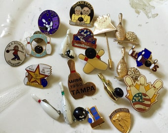 BOWLING Pins Lot Brooch