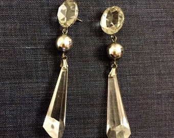 Crystal Earrings Prism Dangle Earrings Vintage