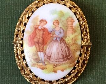 Vintage Limoges Cameo Brooch Painted Porcelain