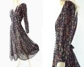 90s Floral Dress, Vintage Black Floral, Boho Midi Floral, Chiffon Floral Dress, Long Sleeve Dress, Bohemian Dress, 1990s Floral Dress, s