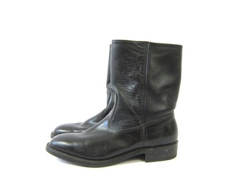 Black leather Boots with side zippers Hipster Shoes Men's size 11 D Western Rockabilly Boots Work n Sport vintage