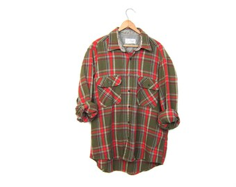 Plaid Flannel Shirt 80s Wool Blend Flannel Red Olive Green Lumberjack Button Up Boyfriend Shirt Long Sleeve Grunge Vintage Mens Medium Large