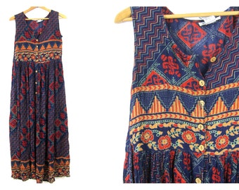 Tribal 90s Boho Dress Ethnic Print Bohemian Dress Button Front Sleeveless Dress Floral Hippie 80s Blue Red Rayon Indian Dress Small