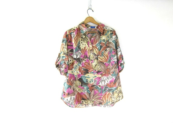 jungle print blouse tropical smock Tunic top safari shirt 80s button front cuffed short sleeve tee Tigers Zebras animals size XL