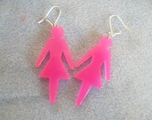 LGBT Pride Hot Pink Plastic Dangle Earrings , Hippie Jewelry, BoHo Jewelry, Gypsy Jewelry, Lesbian, Gay Rights, Gay Pride, Girl Power,