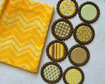 Chevrons, Dots and Stripe Bottlecap Magnets. Brown, Mint and Yellow Strong Bottlecap Magnets