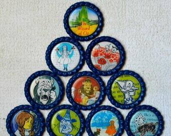 The Wizard of Oz Bottlecap Magnets- Strong Bottlecap Magnets- Dorothy, Tin Man, Cowardly Lion, Scarecrow, ToTo, Ruby Slippers, Poppies