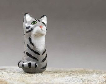 Little Grey Tabby Kitty Cat - Terrarium Figurine - Miniature Ceramic Porcelain Animal Pottery Sculpture - Hand Sculpted OOAK