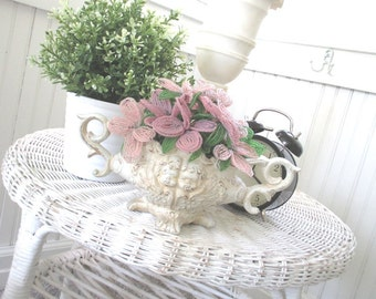 Vintage Jardiniere * Cherubs * Pink French Beaded Flowers * Shabby Chic
