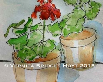 Red Geranium Painting, Watercolor Art, Texas artist, still life, Clay Flower Pots, pen and ink drawing