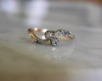 VICTORIAN DIAMOND ENGAGEMENT 9k rose gold antique vintage moi et toi minecut diamond ring circa 1890s size 8.5
