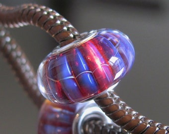 "Tangled Sky Glass ""Nightclub"" #1 Fully Sterling Silver Lined Lampwork Charm Bead BHB"