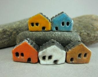 5 Saggar Fired Miniature House Beads...Yellow Blue Orange White Brown