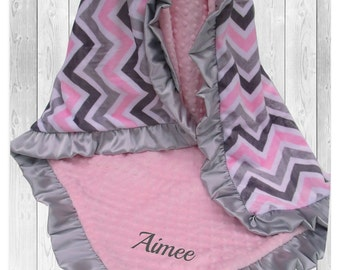 Pink and Gray Chevron Minky Baby Blanket, Gray and Pink Chevron Minky Blanket, Personalized Satin Ruffle Minky Blanket,