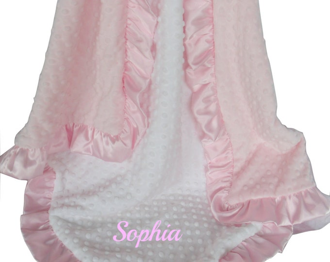 Pink and White Minky Baby Blanket - White and Pink Minky Dot with Matching Satin Ruffle, available in three sizesCan Be Personalized