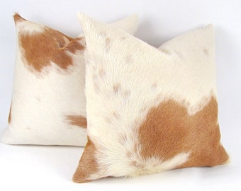 Cowhide Pillow ~ Men's Pillow ~ Palomino Pillow ~ Leather Pillow ~ Brown Calf Hair Pillow ~ Brazilian Leather ~  Genuine Leather Pillow