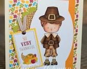 Thanksgiving Pilgrim Handmade Greeting Card