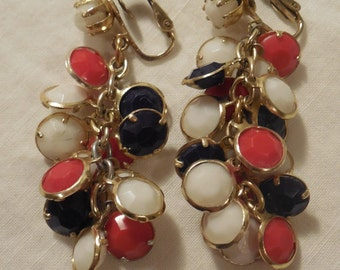 Sweet. Vintage Red, White, and Blue Chandelier Earrings, Clip Back