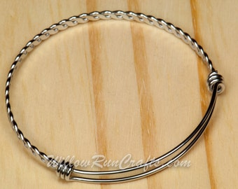 Set of 2 316L Stainless Steel Expandable Bracelets Bangle with Twisted Design (07-10-464)