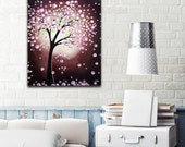 Tree Painting, Cherry Blossom Flower Tree Art, ORIGINAL Painting on Canvas, Modern Wall Decor