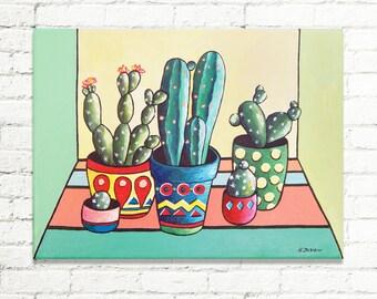 Cactus Art, Cactus Painting Whimsical Art, Succulent Painting Home Decor Wall Art, Succulent Plants Kids Room Decor 9x12