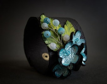 50% OFF SALE Chic blue color leather floral wide cuff bracelet Statement jewelry  Flowers