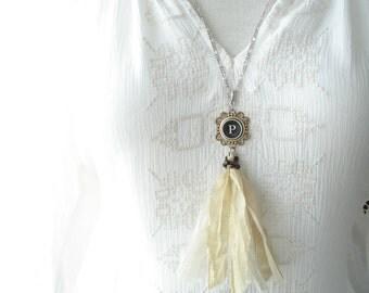 Typewriter Key Necklace. Letter P Necklace. Vintage Typewriter Key Jewelry. Long Sari Silk Tassel Boho Beaded Necklace. Eco Friendly Gift.