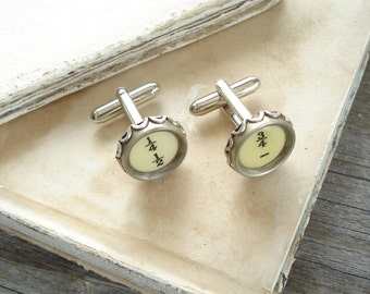 Typewriter Key Cufflinks - Numbers / Fractions. Vintage Typewriter Key Jewelry. Upcycled Steampunk Dads Grads Wedding Eco Friendly Gift.