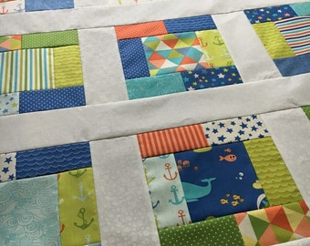 Quilt Top - Bartholo-meow's Reef Unfinished quilt - Tim Beck for Moda Metro - bright and fun 38 in x 38 in