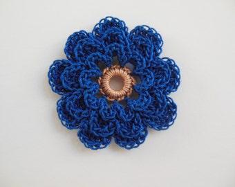 Blue Crocheted Flower - Cotton Flower - Crocheted Flower Embellishment - Crocheted Flower Applique