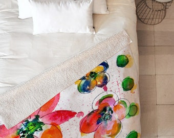 Sherpa Throw Blanket - Summer in Watercolor