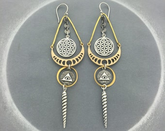 Moon Phases and Sacred Geometry Occult Earrings With All Seeing Eye and Unicorn Horn Talismans
