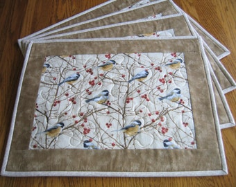 Quilted Placements in a Chickadee Pattern Set of 4
