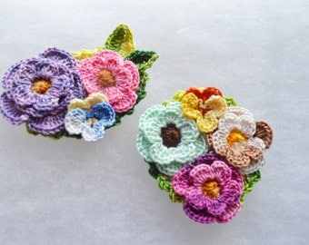 Crochet flower brooch pin pansy pansies roses cotton floral set of 2