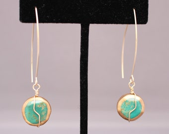 Gold-Dipped Turquoise Earrings G513