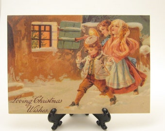 Victorian Christmas Card Children's Band Vintage Repro