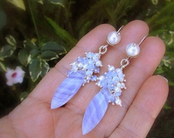 20 % Off Blue Lace Agate With Pearl and Opalite Sterling Earrings