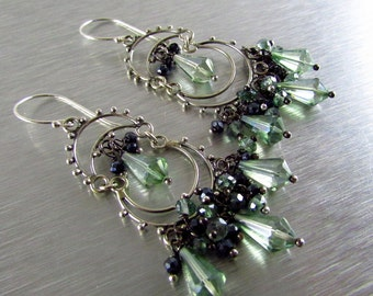 Mystic Green Quartz and Black Spinel Sterling Silver Artisan Chandelier Cluster Earrings
