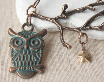 Owl Necklace Owl on a branch pendant owl jewelry antique copper owl and gold stars copper branch and owl necklace N35