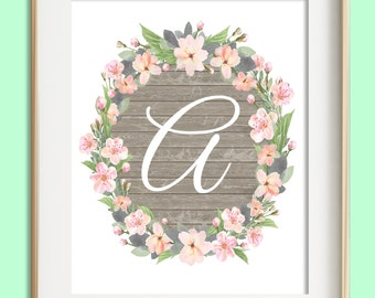 Letter A Printable, Instant Download, Baby Girl Nursery Wall Art, Girl Nursery Decor, Floral Monogram, Pink Mint Gray Letter Art, Baby Gift