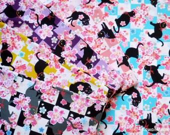 Kimono Fabric - Black Cat Sakura 5 Fat Quarter Bundle Set (co160817)