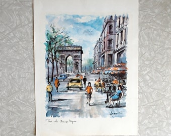 champs elysees print by arno, vintage paris print, vintage french print, 1950s 50s fifties, street scene café, paris watercolor, 10 x 13
