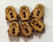 New - Die Cut Wood-Burned Penguin Novelty Craft Buttons (6) 15 mm x 12 mm