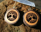 Wood Tree of Life Earrings- in Hemlock- Wooden Jewelry,