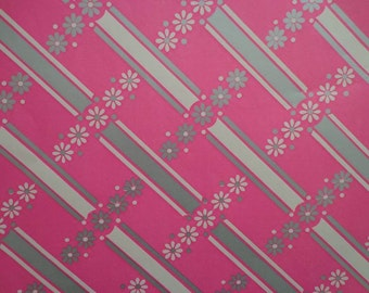 Vintage Gift Wrap 1980s All Occasion Pink Posies--2 Sheets Vintage Wrapping Paper