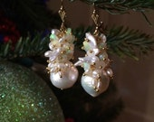 Opal Earring Baroque Pearl Earrings Keishi Pearl Wedding Earring Faceted Welo Ethiopian Fire Opal Kasumi Like Pearl October Birthstone