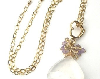 SUPER SALE 60% OFF Heart Necklace Gemstone Ametrine, Ice White Quartz Pendant Gold Fill Heart Wire Wrap Romantic Necklace, Gift for Her