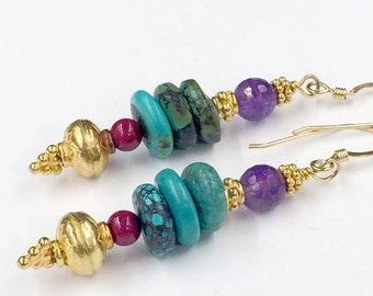 40% SALE Turquoise Earrings, Amethyst Earrings, Gold Vermeil, Stacked Gemstone Earrings, Colorful Earrings